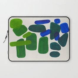 Minimalist Modern Mid Century Colorful Abstract Shapes Phthalo Blue Lime Green Gradient Overlapping Laptop Sleeve