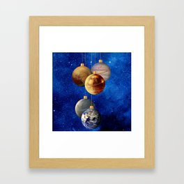 Planetary Christmas Baubles Framed Art Print