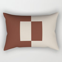Light Beige Reddish Brown Minimal Square Design 2021 Color of the Year Uptown Ecru and Terra Rosa Rectangular Pillow