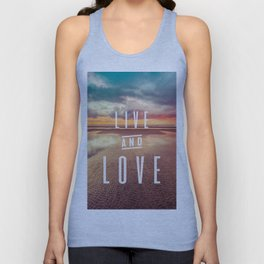 Live and Love beach text Unisex Tank Top
