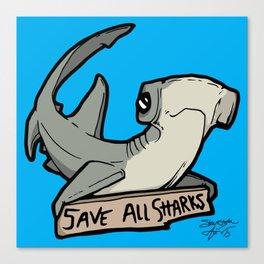 Save All Sharks (says Bonnie!) Canvas Print