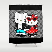 rockabilly Shower Curtains featuring Rockabilly Kitty by BURPdesigns
