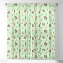 Cute tropical Dachshund and Pineapple Pattern (Green) Sheer Curtain