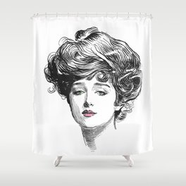 Gibson Girl with Green Eyes and Pink Lips Shower Curtain