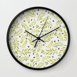 Watercolor Olive Branches Pattern Wall Clock