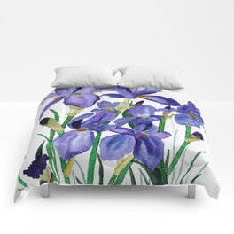 Watercolour Irises Comforters