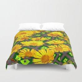 Rich Golden Yellow  Coreopsis Flowers Green Modern Art Duvet Cover