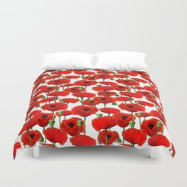 Red Poppy Pattern Duvet Cover