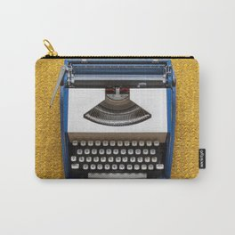 Blue and White Typewriter Carry-All Pouch