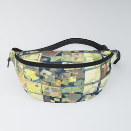 Mosaic yellow green collage Fanny Pack