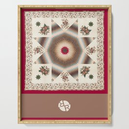 Rubino Mandala Design Pattern Dark Red Serving Tray