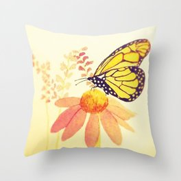 Butterfly on Coneflower in Summer by Twelve Little Tales Throw Pillow