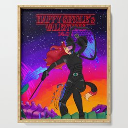 Niels Feynman   Single's valentine's day - Ginger Tabby warrior Serving Tray
