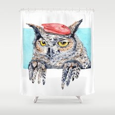 Serious Horned Owl in Red Beret Shower Curtain