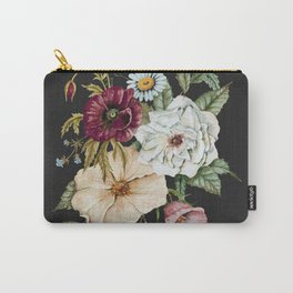 Colorful Wildflower Bouquet on Charcoal Black Carry-All Pouch