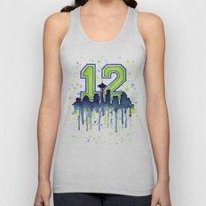 Seattle 12th Man Art Skyline Watercolor Unisex Tank Top
