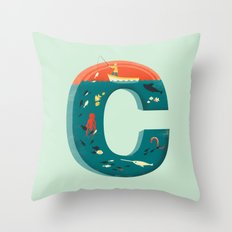 Plenty of Fish in the C  (blue) Throw Pillow