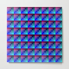 Plum Pink and Classic Blue Checkered Pattern Metal Print