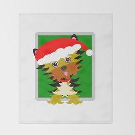 Christmas Yorkshire Terrier Cartoon Throw Blanket