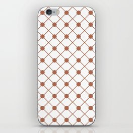 Sherwin Williams Cavern Clay SW7701 Thin Line Stripe Grid and Polka Dots on White iPhone Skin