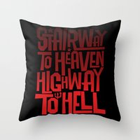 acdc Throw Pillows featuring HEAVEN AND HELL by All Kings