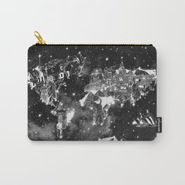 world map galaxy black and white Carry-All Pouch