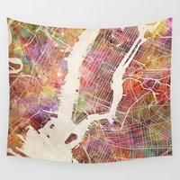 new york map Wall Tapestries featuring New York Map Watercolor by Map Map Maps