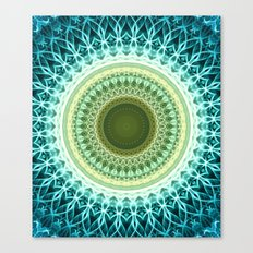 Green and light yellow mandala Canvas Print