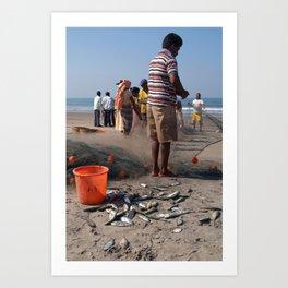 Fishermen Sorting the Catch Arambol Art Print