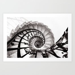 A staircase in St Stephens Basilica Budapest Art Print
