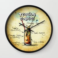 tequila Wall Clocks featuring Tequila Sunrise by jamfoto