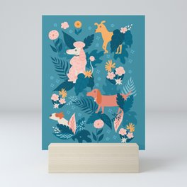 Stop and Sniff the Flowers on Blue Mini Art Print