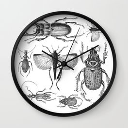 Vintage Beetle black and white drawing Wall Clock