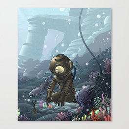 Underwater Gardener Crop Canvas Print