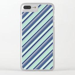 Fun Diagonal Stripes Blue Clear iPhone Case