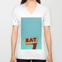 eat V-neck T-shirts featuring Eat by bomobob