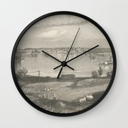 Vintage Pictorial Map of Louisville KY (1854) Wall Clock