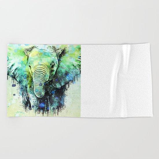 watercolor elephant Beach Towel