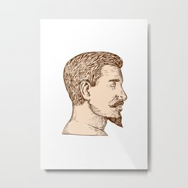 Male Goatee Side View Etching Metal Print