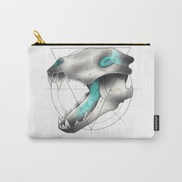 Blue Flame Wolf Skull Carry-All Pouch