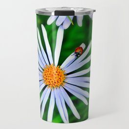 Blue daisy and a ladybird Travel Mug