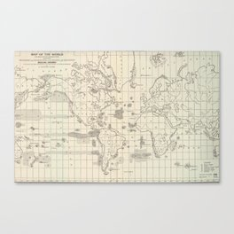 Vintage Map of The World Whaling Grounds (1880) Canvas Print