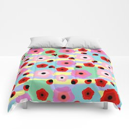 Poppies and stripes Comforters