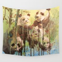 pandas Wall Tapestries featuring Melting Pandas by Victoria Orolfo