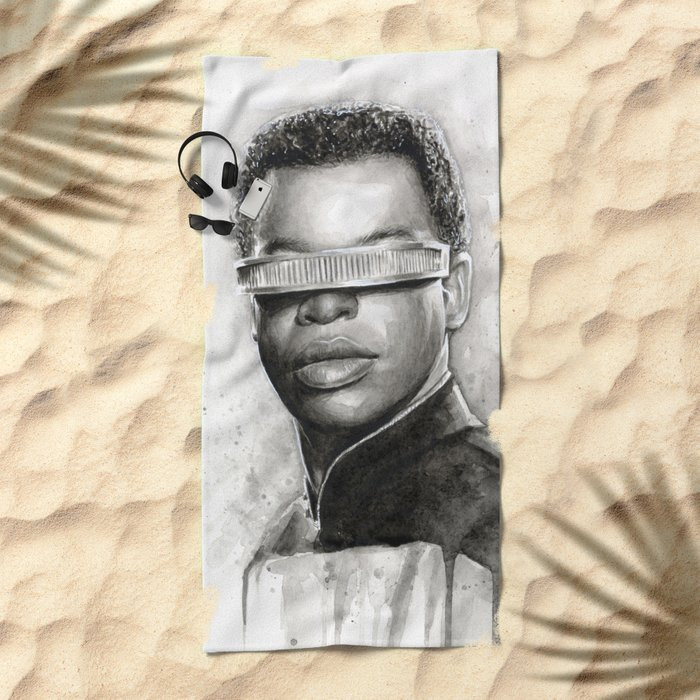 Geordi La Forge Star Trek Art Beach Towel