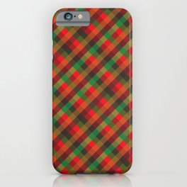 xmas red and green check tartan iPhone Case