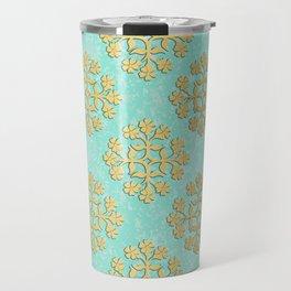 """Cool Blue """"Formica"""" with Gold Tile Digital Design Travel Mug"""