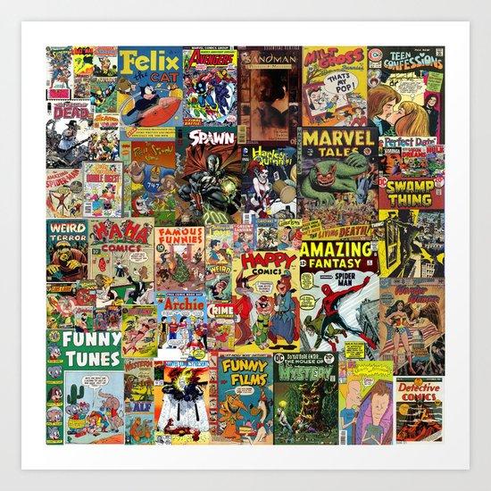 Comic Book Cover Collage Art Print