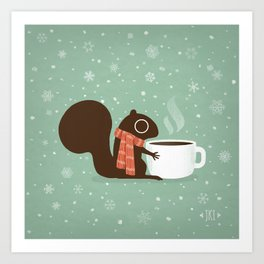 Cute Squirrel Coffee Lover Winter Holiday Art Print