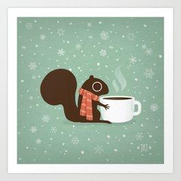 Cute Squirrel Coffee Lover Winter Holiday Kunstdrucke